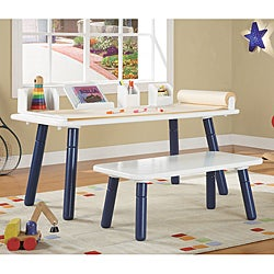 Thumbnail 1, 3 Stages Kid's Art Table and Bench Set in White and Blue Finish.