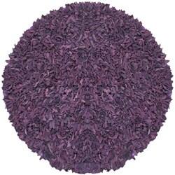 Hand-tied Pelle Purple Leather Shag Rug (6' Round)