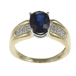 Kabella 14k Two-tone Gold Sapphire and 1/8ct TDW Diamond Ring (I-J, I2-I3)