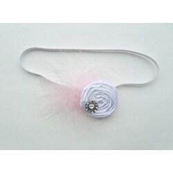 Itty Bitty White Rosette Vintage Headband