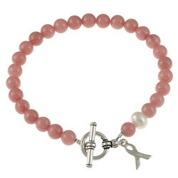 Lola's Jewelry Silvertone Jade and Pearl Breast Cancer Awareness Bracelet (8 mm)