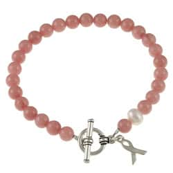 Lola's Jewelry Silvertone Jade and Pearl Breast Cancer Awareness Bracelet (8 mm)|https://ak1.ostkcdn.com/images/products/P13673362.jpg?impolicy=medium