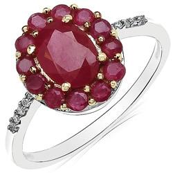 Malaika 10k White Gold Ruby and Diamond Accent Ring