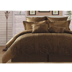 Kenya Zebra Leopard Gold/ Black 8-piece King-size Comforter Set - Thumbnail 0