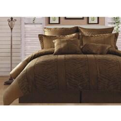 Kenya Zebra Leopard Gold/ Black 8-piece Queen-size Comforter Set - Thumbnail 0