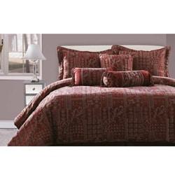 Felicity Burgundy/ Gold 7-piece Chenille Queen-size Comforter Set - Thumbnail 0