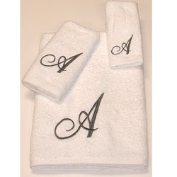 Avanti Silver Scroll 'A' Egyptian Cotton 3-piece Bath Towel Set