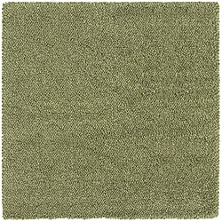Manhattan Tweed Green/ Ivory Shag Rug (8' Square) - Thumbnail 0