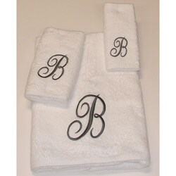 Avanti Silver Scroll 'B' Monogram 3-piece Towel Set