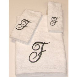 Avanti Silver Scroll 'F' Monogram 3-piece Towel Set