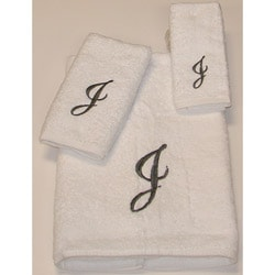 Avanti Silver Scroll 'J' Monogram 3-piece Towel Set