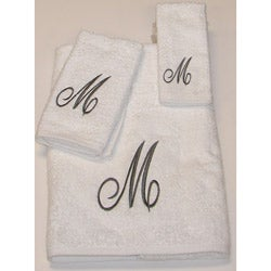 Avanti Silver Scroll 'M' Monogram 3-piece Towel Set