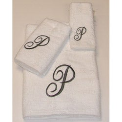 Avanti Silver Scroll 'P' Monogram 3-piece Towel Set