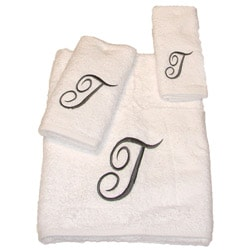 Avanti Silver Scroll 'T' Monogram 3-piece Towel Set