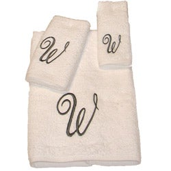 Avanti Silver Scroll 'W' Monogram 3-piece Towel Set