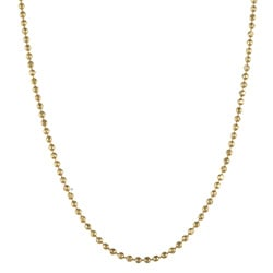14K Gold over Sterling Silver 18-inch Bead Chain Necklace