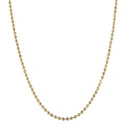 Sterling Essentials 14K Gold over Silver 18-inch Bead Chain Necklace