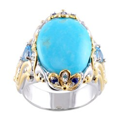 Michael Valitutti Two-tone Turquoise, Swiss Blue Topaz and Sapphire Ring