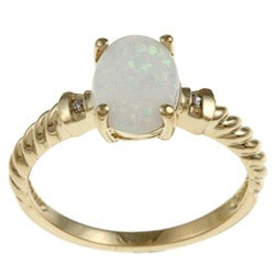 14k Yellow Gold Created Opal and Diamond Accent Ring (K-L, I1-I2)