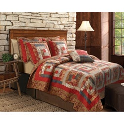 Greenland Home Fashions Log Cabin Full/ Queen-size 3-piece Quilt Set - Thumbnail 0