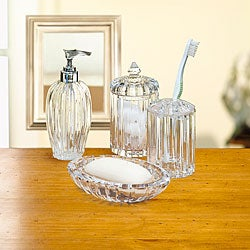 Crystal bathroom accessories sets my web value for Clear glass bathroom accessories