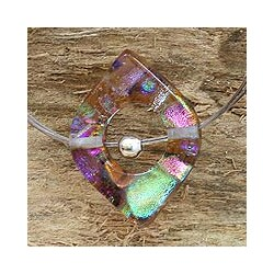 Handmade Sterling Silver 'Electric Earth' Dichroic Art Glass Necklace (Mexico)