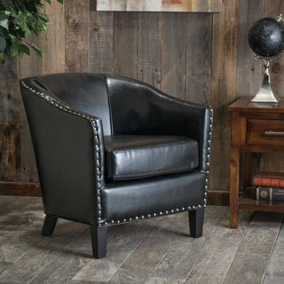 Austin Black Bonded Leather Club Chair by Christopher Knight Home