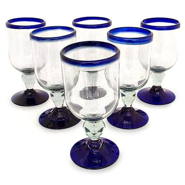 Set of 6 Blown Glass 'Cobalt Joy' Wine Glasses (Mexico)