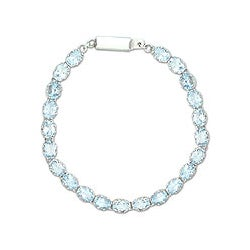 Sterling Silver 'Enchanted' Blue Topaz Tennis Bracelet (India)
