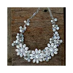 Silverplated 'Snow Blossom' Pearl Necklace (5.5-8 mm) (Thailand)