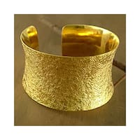 Handmade Gold Vermeil 'Summer Skies' Cuff Bracelet (India)