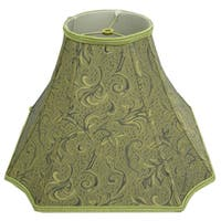 Square-Cut Corner Green Silk Embroidered Lamp Shade