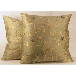 Green Faux Silk Embroidered Throw Pillows (Set of 2)