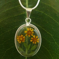 Sterling Silver Mini Sunflowers Trio Big Clear Oval Necklace (Mexico)