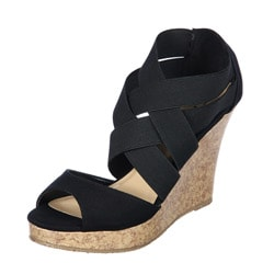CL by Laundry 'Indulge' Black Cork-bottom Wedge Sandal
