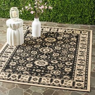 Safavieh Courtyard Oriental Black/ Cream Indoor/ Outdoor Rug (5'3 x 7'7)