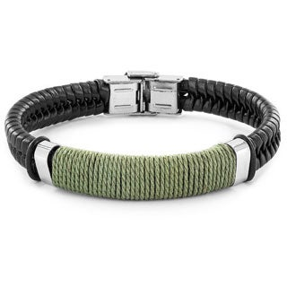 Crucible Men's Stainless Steel and Leather Bracelet - 8 Inches