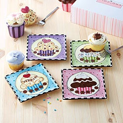 American Atelier Confections 6-inch Cupcake Plates (Set of 4)