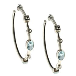 MARC Sterling Silver Top Sky Blue Topaz and Marcasite Hoop Earrings