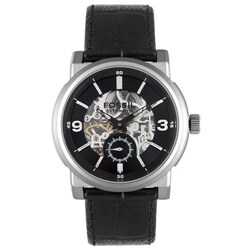 Fossil Men's Automatic Patterned Dial Black Leather Watch
