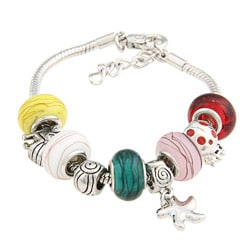 La Preciosa Glass Multicolored Bead Charm Bracelet