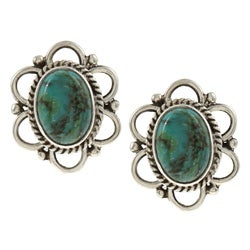 Kabella Lily B Sterling Silver Synthetic Turquoise Flower Stud Earrings