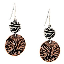 Silvermoon Sterling Silver and Copper Textured Circle Earrings