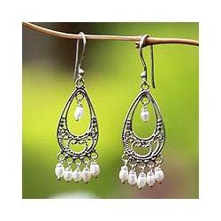 Handmade Sterling Silver 'Wings' Pearl Earrings (3 mm) (Indonesia)