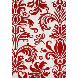 Alliyah Handmade Red New Zealand Blend Wool Rug (5 'x 8')