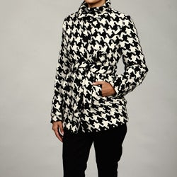 Shop Last Kiss Women S Black White Houndstooth Coat Final