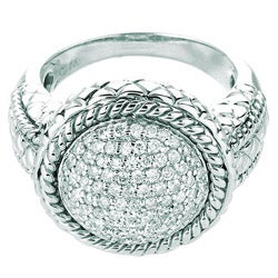 Sterling Silver 1/10ct TDW Rope Design Diamond Ring