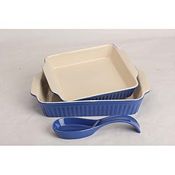 OmniWare Simsbury Blue Bakers and Spoon Rest Set