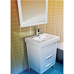 Fine Fixtures Fashion White Wood and Ceramic Vanity