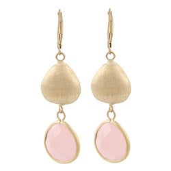 Rivka Friedman Gold Overlay Rose Quartz Earrings